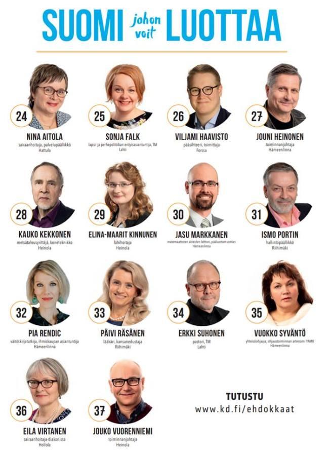 KD Häme ehdokasjuliste 2019